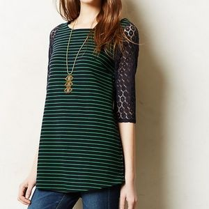 Anthropologie green and navy boat stripe tunic